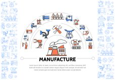 Production Colorful Line Icons Template. With industrial equipment machineries factory wrench hammer conveyor belt robotic arms engineer forklift vector stock illustration