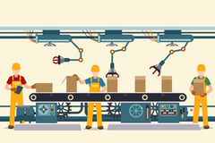 Production conveyor belt with operational people Stock Images