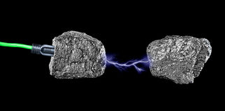 Production d'électricité de charbon photographie stock