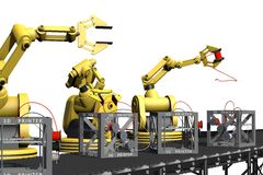 Production of 3D printers. An illustration of robot arms producing 3d printers Stock Photo