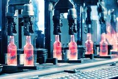 Production de convoyeur des bouteilles en verre Photographie stock libre de droits