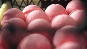 Production de plan rapproché des bombes de bain dans la couleur rouge tirées dans le laboratoire banque de vidéos