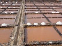 Production de sel chez Salinas del Carmen, Fuerteventura Images stock