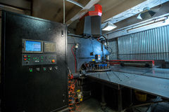 Production department. Machine for punching metal Royalty Free Stock Photo