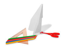 Production des colombes, de la règle de ciseaux et du crayon de papier Image stock