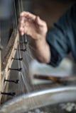 Production des fibres en soie Images stock