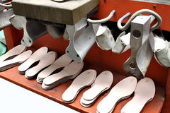 Production designer shoes.Footwear production by human hands.Sho Royalty Free Stock Photography
