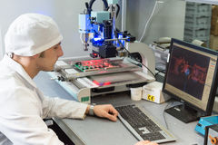Production of electronic components  at high-tech Stock Image