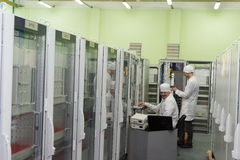 Production of electronic components  at high-tech Royalty Free Stock Images