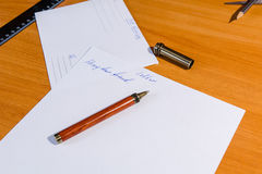 Production of an envelope. Hands for the letter Royalty Free Stock Images