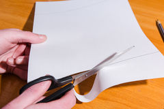 Production of an envelope. Hands for the letter Royalty Free Stock Photos
