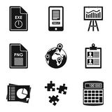 Production environment icons set, simple style. Production environment icons set. Simple set of 9 production environment vector icons for web isolated on white Royalty Free Stock Photos