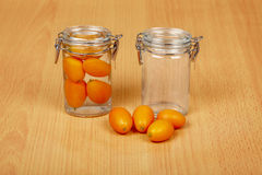 Production of exotic citrus fruits canned Stock Photography