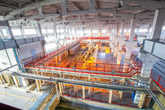 Production facilities at factory producing blocks view from above. New bright  production facilities  at factory producing blocks view from above Stock Image