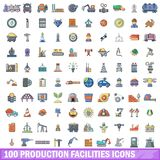 100 production facilities icons set, cartoon style. 100 production facilities icons set. Cartoon illustration of 100 production facilities vector icons isolated Royalty Free Stock Image