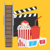 Production of film, film, popcorn, cola, 3d glasses. Flat design  illustration Royalty Free Stock Photos