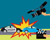 Production of the film. Operator holding clapper board during the production of film in the night. Car accident. Vector illustration Stock Photos