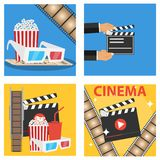Production of the film, popcorn, cola, 3D glasses. Flat design,  illustration Stock Photography