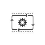 Production flow line icon, outline vector sign, linear style pictogram isolated on white. vector illustration