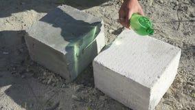 Production of foam concrete blocks stock video footage