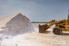 PRODUCTION OF FOOD SALT. SALT FLAT OF TRAPANI, SICILY stock photo