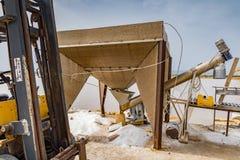 PRODUCTION OF FOOD SALT. SALT FLAT OF TRAPANI, SICILY stock images