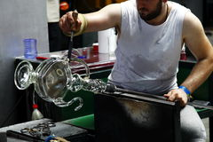 Production of glass- hot glass forming Stock Image
