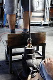 Production of glass- hot glass forming Royalty Free Stock Photos