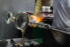 Production of glass- hot glass forming Stock Photography