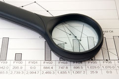 Production Graph. Oil production graph and magnifier Stock Photos