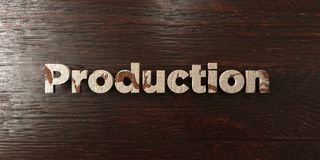 Production - grungy wooden headline on Maple  - 3D rendered royalty free stock image Royalty Free Stock Images