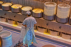 Production of Gruyere cheese at the Maison du Gruyere Stock Photo