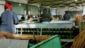 Production hall and workers stock video footage