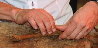 Production of handmade cigars royalty free stock photography