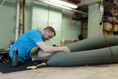 Production of inflatable boats and rafts Stock Image