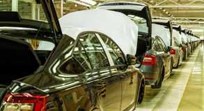 Production of Škoda Kodiaq began in Ukraine. Solomonovo, Ukraine - March 9, 2017. The body of Octavia cars on the assembly line of the Transcarpathian plant of Royalty Free Stock Photos