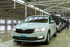 Production of Škoda Kodiaq began in Ukraine. Solomonovo, Ukraine - March 9, 2017. The body of Octavia cars on the assembly line of the Transcarpathian plant of Royalty Free Stock Image