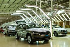 Production of Škoda Kodiaq began in Ukraine. Solomonovo, Ukraine - March 9, 2017. Cars of the Škoda series in the workshop of the Transcarpathian plant of the Royalty Free Stock Photo