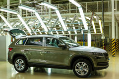 Production of Škoda Kodiaq began in Ukraine. Solomonovo, Ukraine - March 9, 2017: Today, was launched a serial production of the new model Kodiaq from ŠKODA in Royalty Free Stock Photography