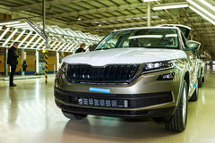 Production of Škoda Kodiaq began in Ukraine. Solomonovo, Ukraine - March 9, 2017: Today, was launched a serial production of the new model Kodiaq from ŠKODA in Royalty Free Stock Photo