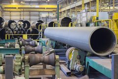 Production of large diameter pipelines at pipe rolling factory Stock Images