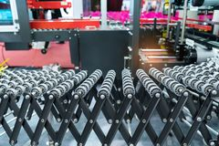 Production line with automatic conveyor belt Royalty Free Stock Photo