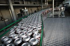 Production line for beer bottling royalty free stock images