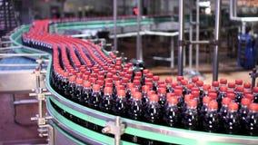 Production line for bottling bottles stock footage
