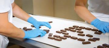 Production line cakes Stock Photos