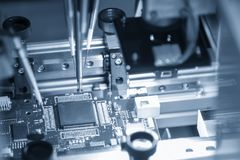 The production line of electronic board with microchip royalty free stock image