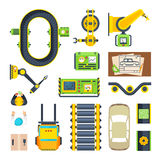 Production Line Elements Icon Set Royalty Free Stock Images