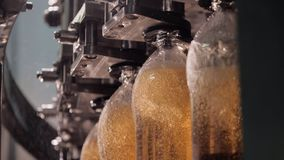 Production line of a factory for bottling liquids, beverages, drinks, alcohol.