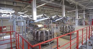 Production line at food processing plant stock video