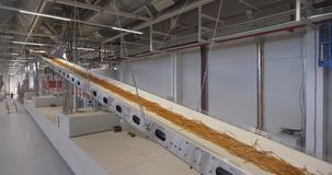 Production line at food processing plant stock footage